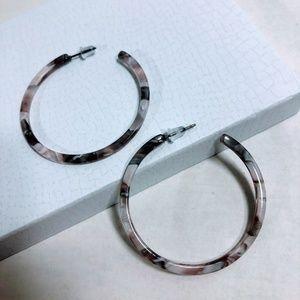 Jewelry - New - Acrylic Hoop Earrings - Light Gray